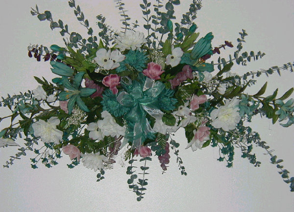 Silk flowers and custom floral wall hangers wreaths swags for Picture arrangements for large walls